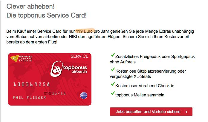 Wie airBerlin mit der TopBonus Service Card