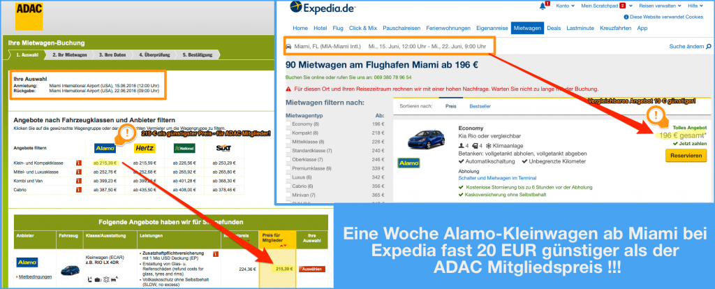Mietwagen in Florida - Expedia günstiger als der ADAC