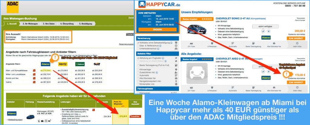 Mietwagen in Florida - Happycar günstiger als der ADAC