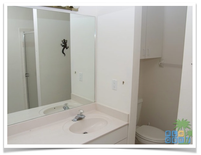 """Florida Ferienhaus in Lehigh Acres """"Alisha"""" mit einem kurzen Blick in das Badezimmer mit Dusche, Waschtisch und WC"""