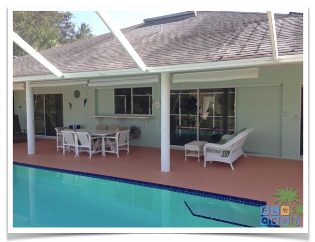 """Florida Ferienhaus in Lehigh Acres """"Alisha"""" mit Blick auf die gemütliche Terrasse inklusive Sonnenschutz und Screen als Mückenschutz"""