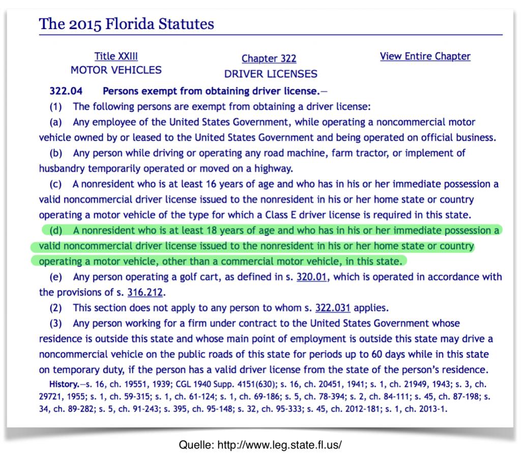 Internationaler Führerschein in Florida