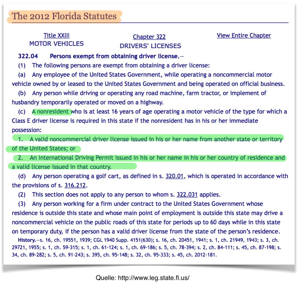 Internationaler Führerschein in Florida 2012