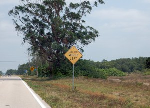 Schilder in Florida - lane ends