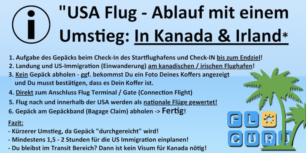 Flug in die USA Umsteigen in Kanada