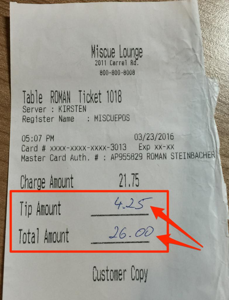 Trinkgeld mit Kreditkarte in den USA bezahlen